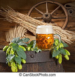 hop cone with beer