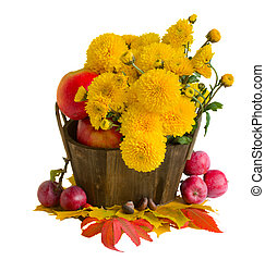 bouquet of yellow mums with apples - bouquet of yellow mums...