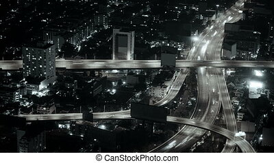 Aerial view night illuminated city - Video 1920x1080 -...