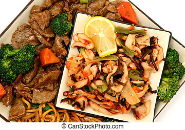 Lo Mein, Beef, Squid, Seaweed - Plate with Lo Mein, Beef,...
