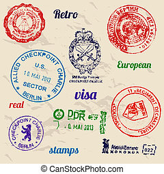 Set of real stamps from Berlin Wall Vector illustrtion EPS8