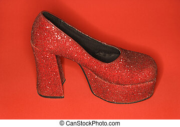 alto, sapato, brilhar, vermelho, calcanhar