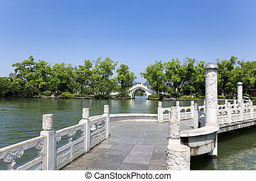 ponte, pietra, arco, lago,  zigzag