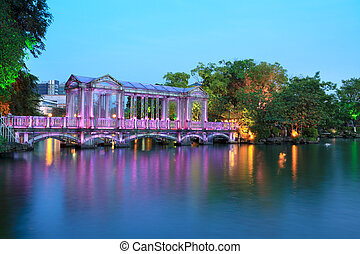 ponte, lago, colorito, vetro