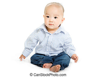 Asian baby - A shot of a cute asian baby boy on white...