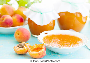 apricots and apricot jam - fresh apricots and apricot jam,...