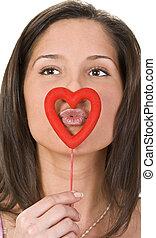 Kissing through a heart