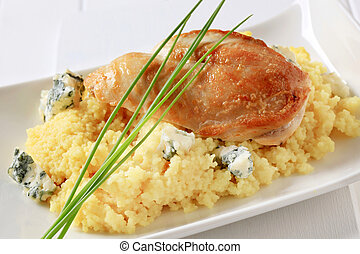 Chicken with couscous and blue cheese - Seared chicken...