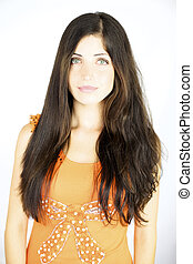 Gorgeous female model with straight and wavy hair showing hairstyle