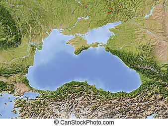 Black Sea, shaded relief map - Black Sea with immediately...