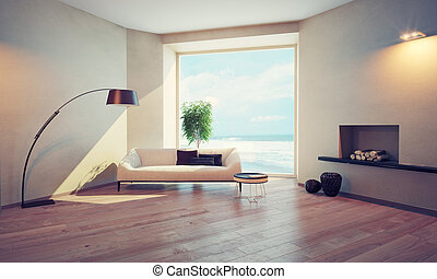 modern interior with window views of the ocean 3D rendering...