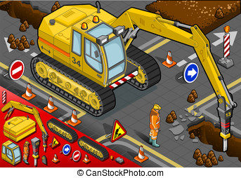 Isometric Chisel Excavator in Front View