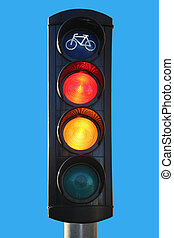 Traffic light for bikes showing red and yellow