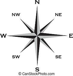 wiatr, róża, Kardynał, punkty, Gwiazda, grai,...