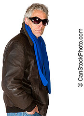 Man as gangster with dark sunglasses