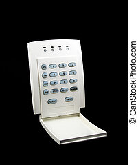 Alarm Keypad - Alarm LED keypad isolated on black background