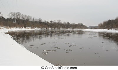 ice floe river winter - ice floe floating on neris river...