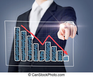 businessman hand with chart on virtual screen - business and...