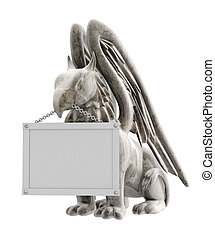 3d statues griffin from stone Objects over white