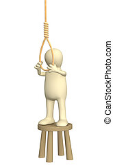 Suicide - Despaired 3d person - puppet, making suicide....