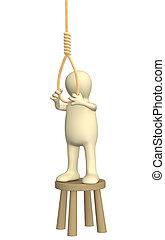 Suicide - Despaired 3d person - puppet, making suicide....