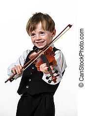 Freckled red-hair boy playing violin. Isolated on white...