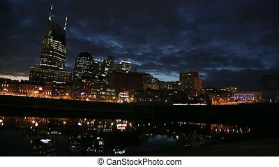 Nashville River Night - A view of Nashville over the river...