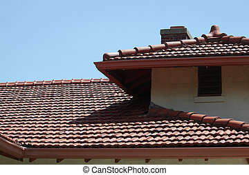 Adobe building with tile roof - Adobe building with red tile...