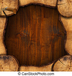 Section of Tree Trunk - Background - Wooden background with...