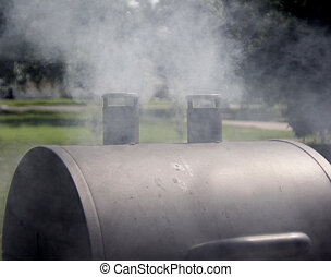 Smoking grill - Smoked meat being cooked on a outdoor grill...