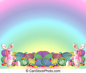 Easter Border Bunny eggs candy - Illustration and image...