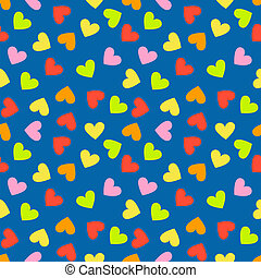 Seamless vintage random colorful heart pattern background....