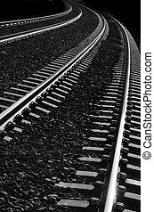 Railroad Tracks - Long bright, railroad tracks curving...