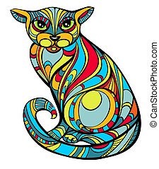 Improbable cat - Portrait of improbable colored cat, in Art...