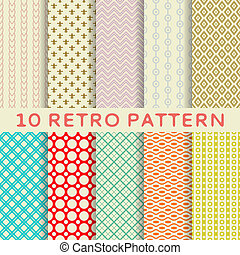 Retro different vector seamless patterns tiling - 10 Retro...