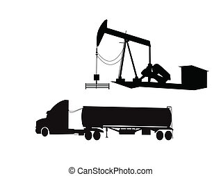 all about the oil - silhouettes of oil drilling related...
