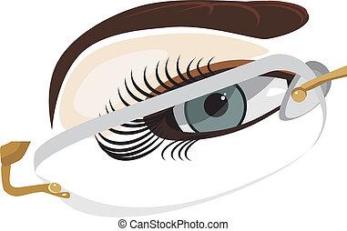 Fragment of female face in glasses