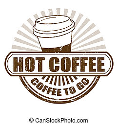 Hot coffee stamp - Hot coffee grunge rubber stamp, vector...