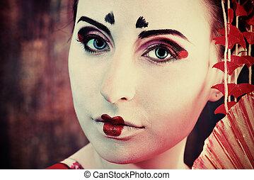 makeup geisha - Art portrait of a stylized Japanese geisha...