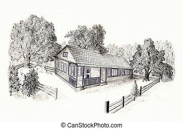 Fictitious landscape, forest house. - Fictitious landscape,...