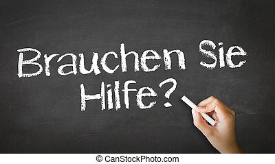 Do you need help In German - A person drawing and pointing...