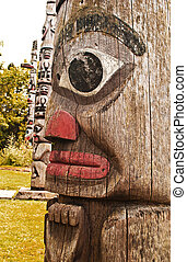 Ancient Totem Poles - A Totem from Victoria BC