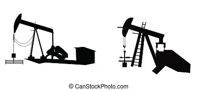 donkey pumps - oil pumps in silhouette