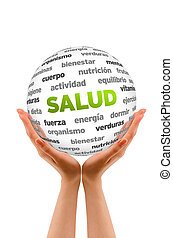 Health Word Sphere In Spanish - A person holding a 3D Health...