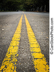 Double yellow lines on the street