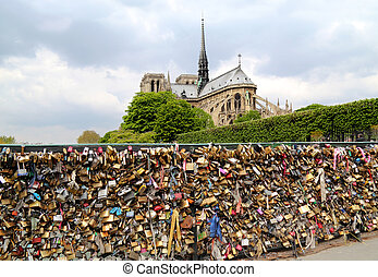 Pont de l Archeveche with love padlocks in Paris - PARIS,...
