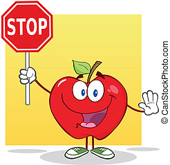 Apple Holding A Stop Sign