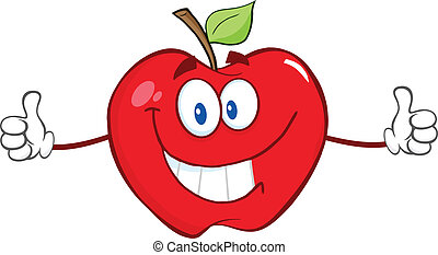 Red Apple Giving A Thumb Up