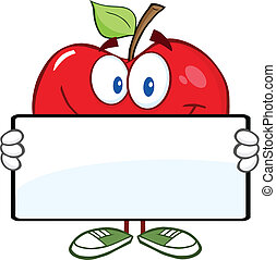 Red Apple Holding A Banner - Smiling Red Apple Character...