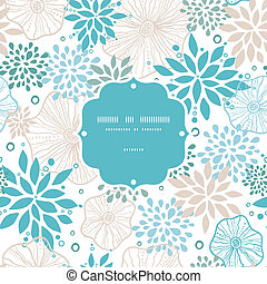 Blue and gray plants frame seamless pattern background